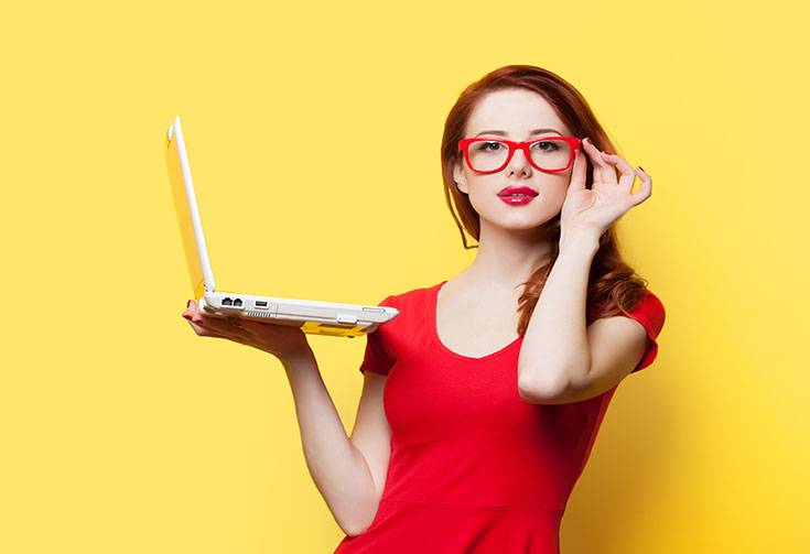 Lady wearing Computer glasses
